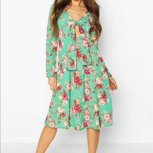Floral Print Tie Front Woven Midi Dress Green